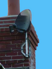 Sky minidish chimney installation